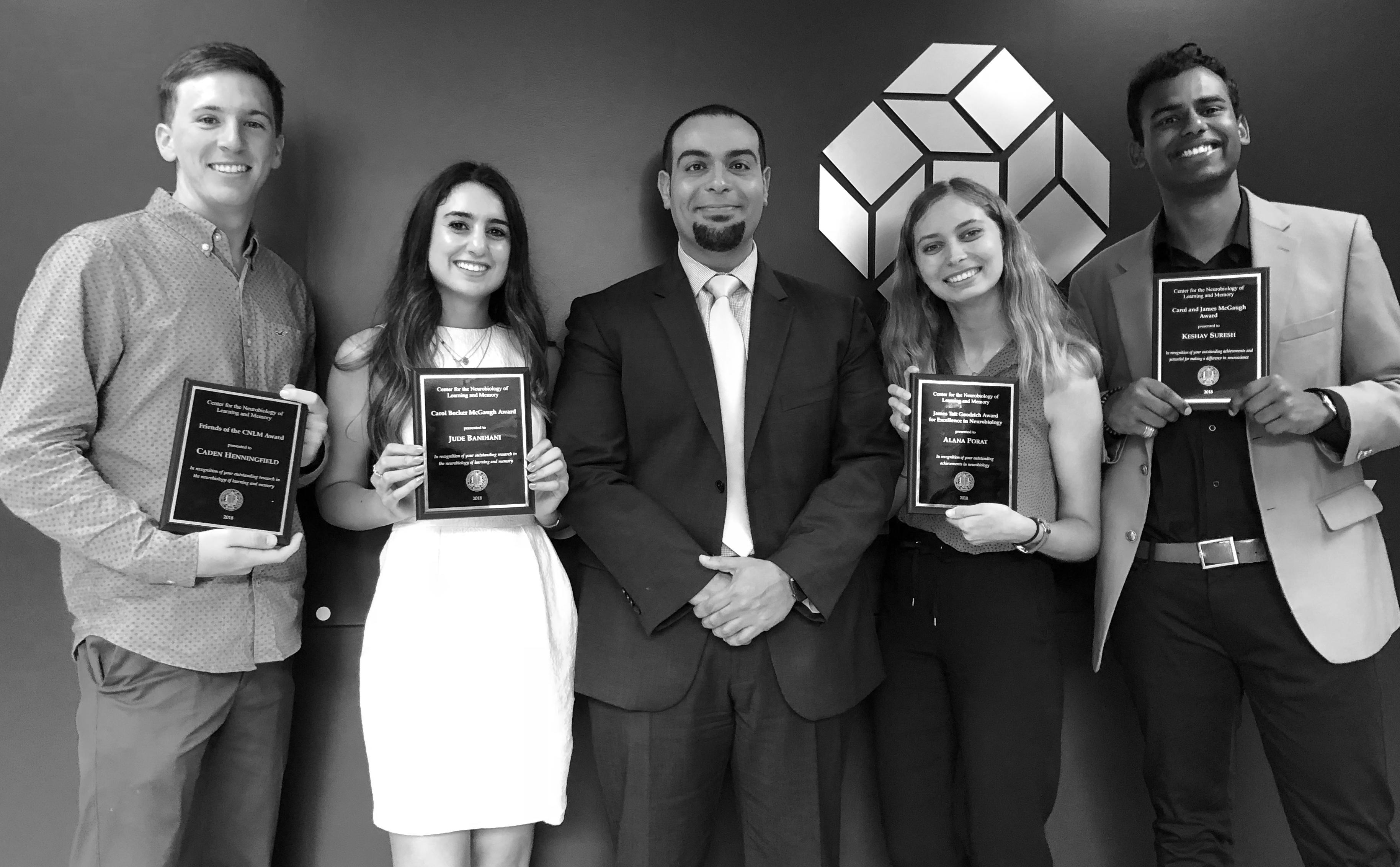 Undergraduate Award Recipients Caden Henningfield, Jude Banihani, Alana Porat and Keshav Suresh pose with CNLM Director Dr. Michael Yassa